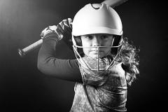 black and white softball portrait