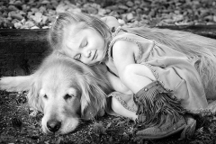 black and white with young girl and her dog