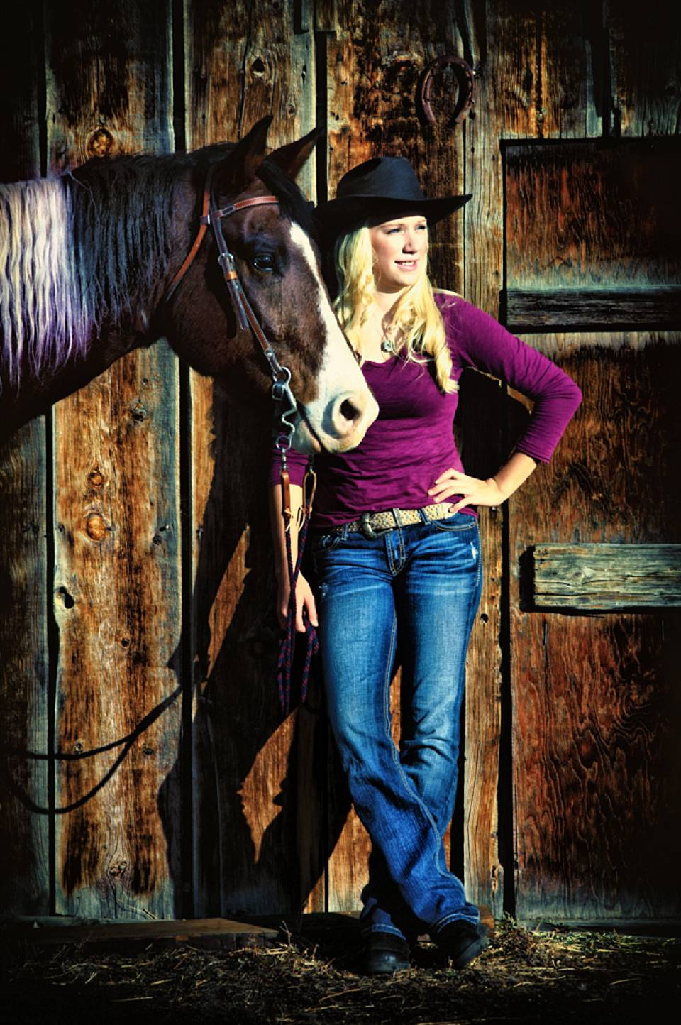 blonde senior girl with horse