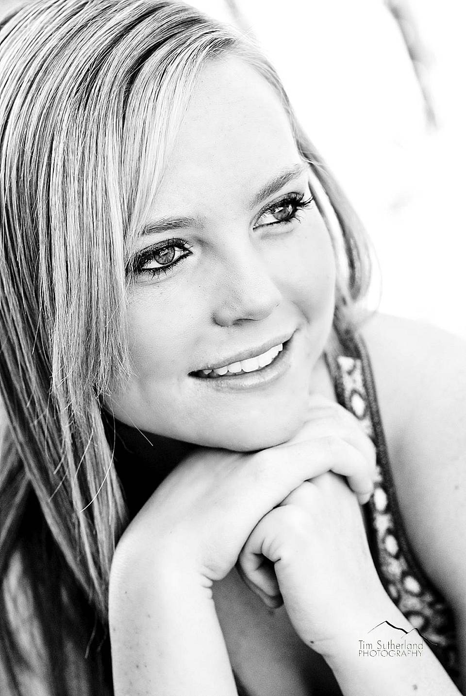 black and white outdoor Senior Portrait