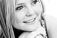 black and white outdoor Senior Portrait