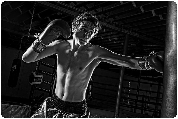 Black and white boxing senior portrait