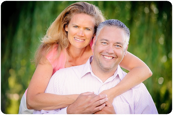 Outdoor portrait of happy husband an wife