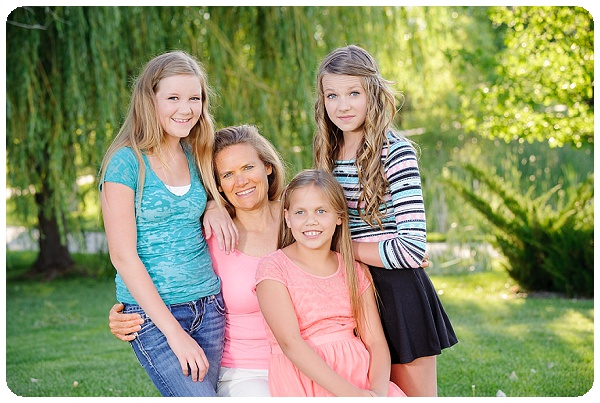 outdoor photo of mom with her 3 girls