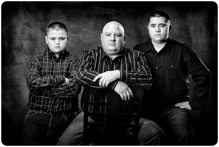 Black and white father with sons picture-Black and White family portraits-Tim Sutherland-Erie Colorado