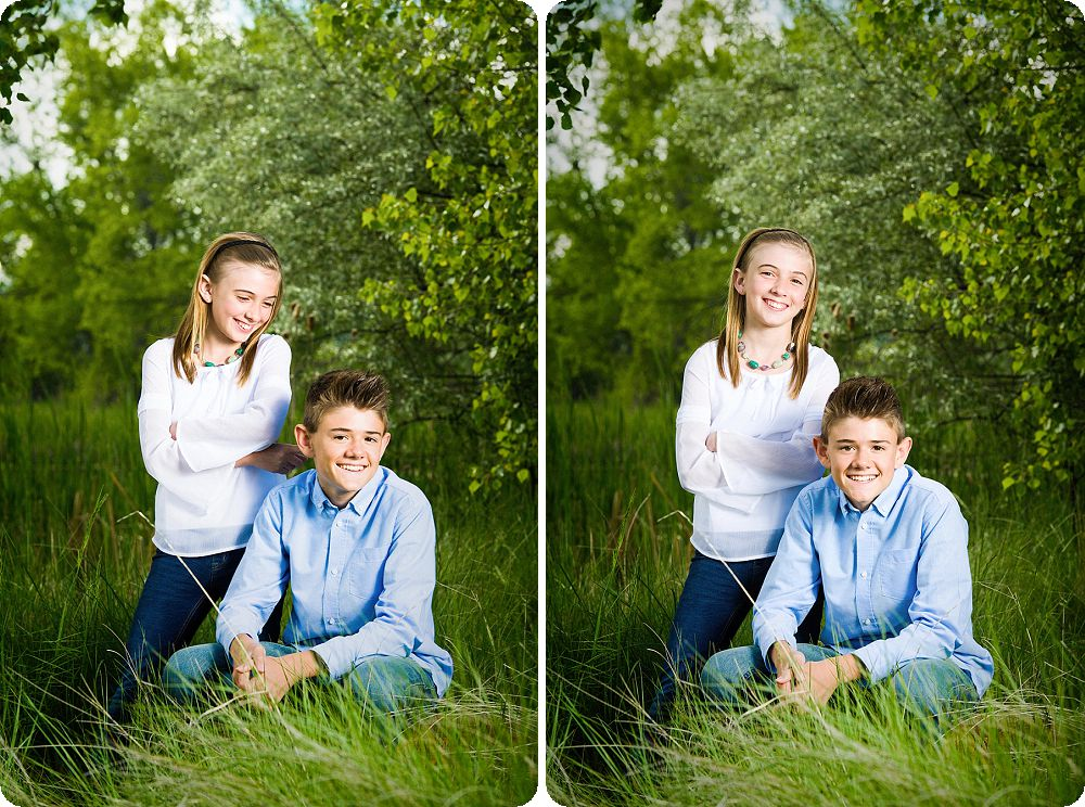 springtime brother sister portrait