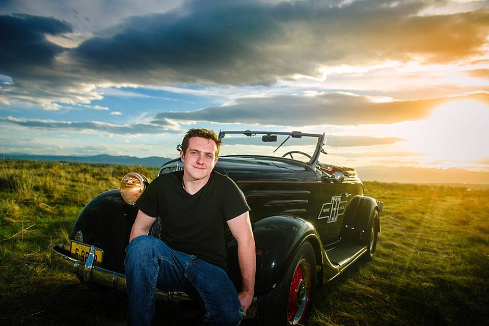 senior boy with chevy roadster