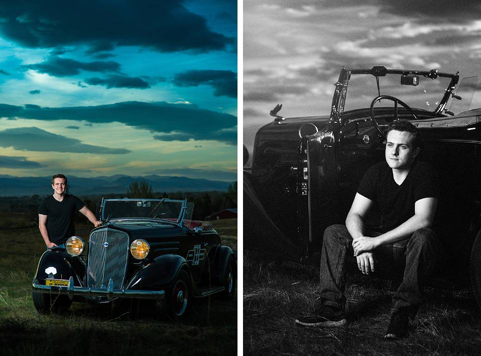 senior boy in erie with old car