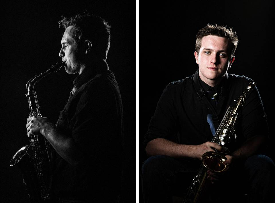 senior portrait with sax
