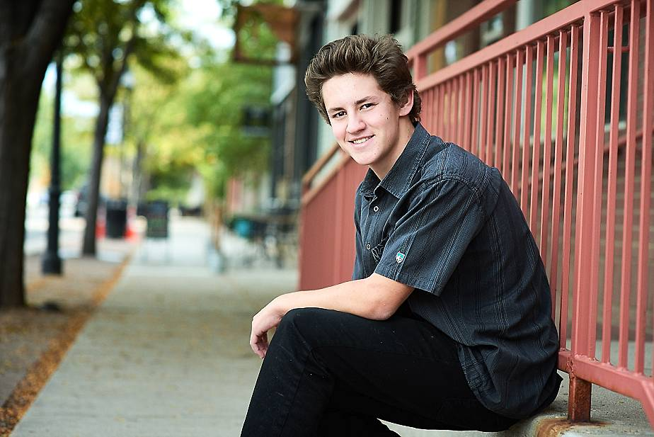 Senior boy sitting at Old Town Erie